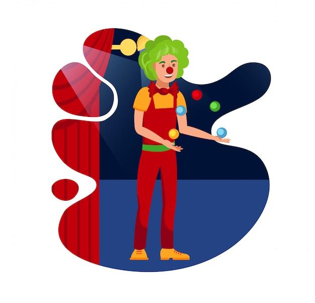Vrolijke jongleren met clown vlakke kleuren afbeelding