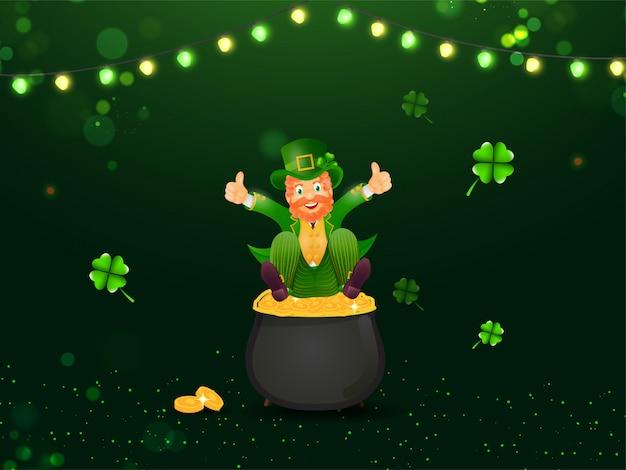 Vrolijke kaboutermens zit op gouden muntenpot met klaverbladeren en verlichtingskrans versierd groen lichteffect voor st. patrick's day.
