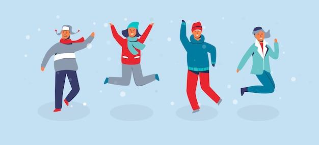 Vrolijke karakters vrienden springen. mensen in warme kleren op gelukkige wintervakantie. man en vrouw buiten plezier.