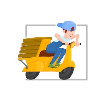 Vrolijke kerel die een scooter rijdt die pizza levert