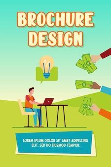 Vrolijke kerel geld verdienen voor zijn idee brochuremalplaatje
