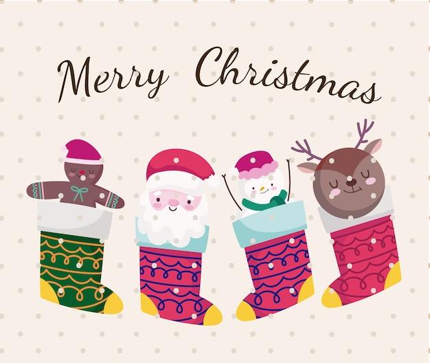 Vrolijke kerst decoratieve sokken met kerstman herten peperkoekman en sneeuwpop illustratie