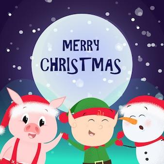 Vrolijke kerst flyer. cartoon elf, sneeuwpop