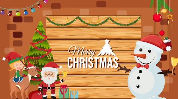 Vrolijke kerst illustratie kaart