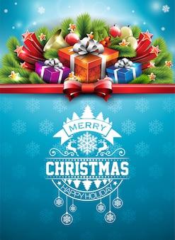 Vrolijke kerst illustratie met typografie en ornament decoratie op blauwe sneeuwvlok textuur achtergrond. vector kerstvakantie flyer of poster ontwerp.