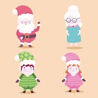 Vrolijke kerst karakters iconen ontwerp illustratie