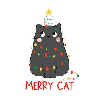 Vrolijke kerst kitten illustratie