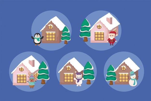Vrolijke kerst scenics set