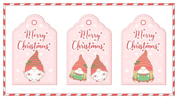 Vrolijke kerst schattige kabouter tekening cadeau tags set