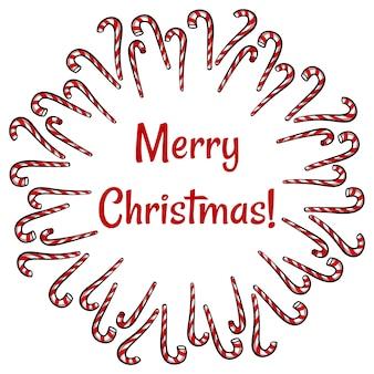 Vrolijke kerst snoep stokken krans