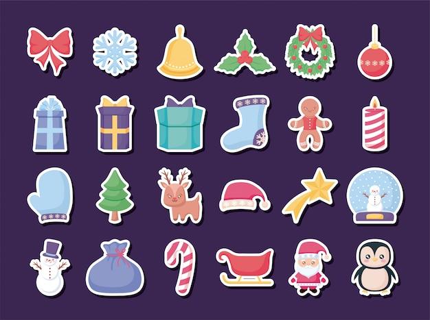 Vrolijke kerst sticker set
