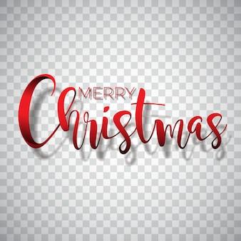 Vrolijke kerst typografie illustratie op een transparante achtergrond. vector logo, emblemen, tekst ontwerp voor wenskaarten, banner, geschenken, poster.