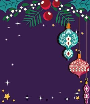 Vrolijke kerstballen met hulst verlaat kerstvieringskaart