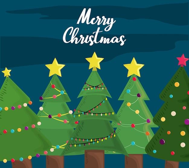 Vrolijke kerstbomen wenskaart decoratie en feest