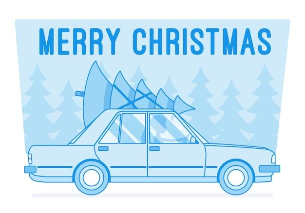 Vrolijke kerstboom op autobovenkant