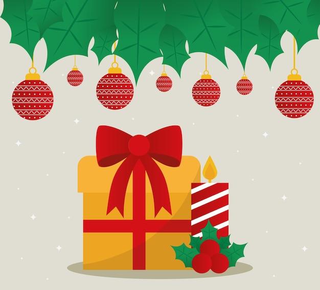 Vrolijke kerstcadeau en kaars met bollen hangend ontwerp.