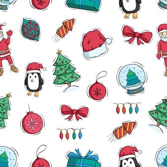 Vrolijke kerstdecoratie in naadloos patroon met gekleurde doodle stijl