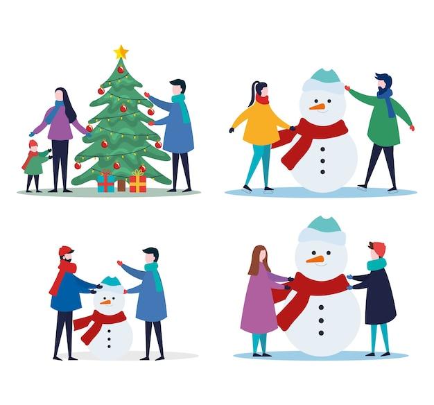 Vrolijke kerstfamilie met dennenboomgiften en sneeuwpop scen set