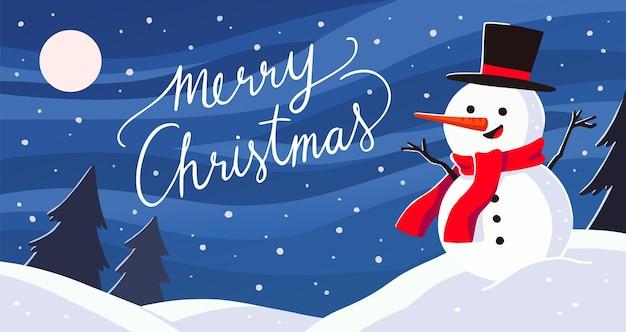 Vrolijke kerstgroet. landschap met sneeuwpop illustratie.