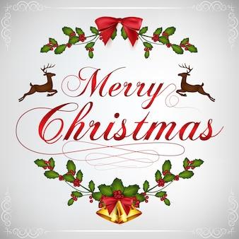 Vrolijke kerstgroet met kerst ornamenten