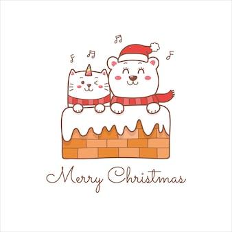 Vrolijke kerstgroet met schattige kat en ijsbeer cartoon.