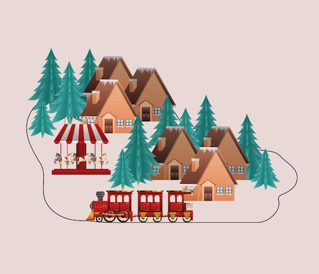 Vrolijke kersthuizen trainen carrousel en pijnbomen ontwerp, winterseizoen en decoratiethema