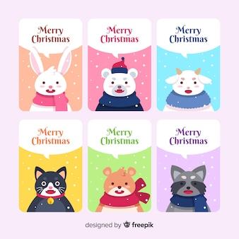 Vrolijke kerstkaart collectie met schattige dieren