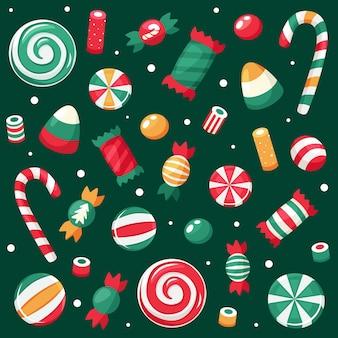 Vrolijke kerstkaart. kerstmissnoepjes en suikergoedinzameling.