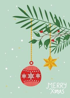 Vrolijke kerstkaart met bal opknoping en decoratie