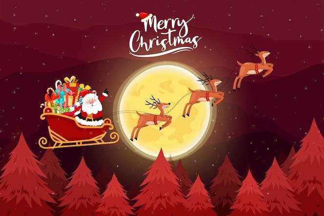 Vrolijke kerstkaart met de kerstman moet een slee rijden.