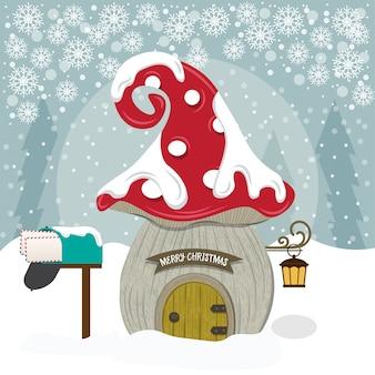 Vrolijke kerstkaart met de leuke illustratie van het kabouterhuis