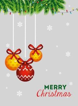 Vrolijke kerstkaart met decoratieve ballen opknoping