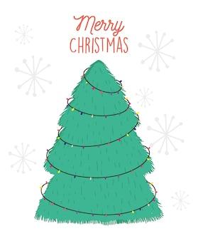 Vrolijke kerstkaart met decoratieve boom met verlichting en sneeuw