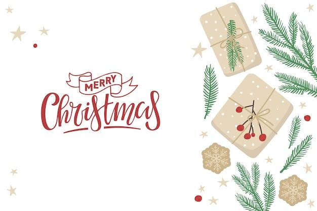 Vrolijke kerstkaart met geschenkdozen en sparren twijgen rand en handgeschreven kalligrafie belettering
