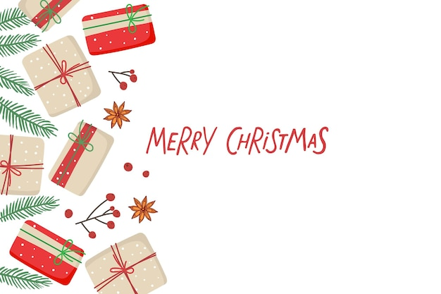 Vrolijke kerstkaart met geschenkdozen en sparren twijgen rode bessen anijs rand en handgeschreven