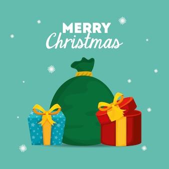 Vrolijke kerstkaart met geschenkdozen en tassen presenteert