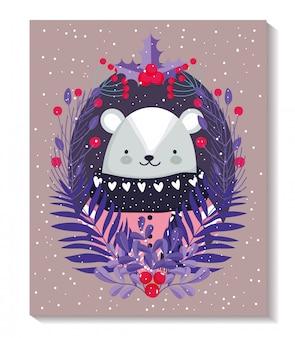 Vrolijke kerstkaart met ijsbeer met trui en bladeren