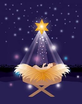 Vrolijke kerstkaart met jezus baby