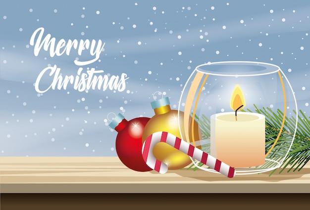 Vrolijke kerstkaart met kaars en ballen vector illustratie ontwerp