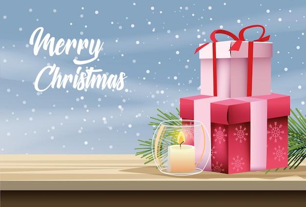 Vrolijke kerstkaart met kaars en geschenken vector illustratie ontwerp