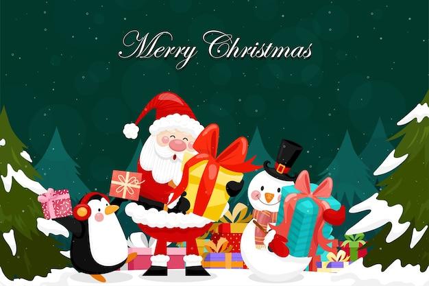 Vrolijke kerstkaart met kerstman, sneeuwman, pinguïn en geschenkdoos.
