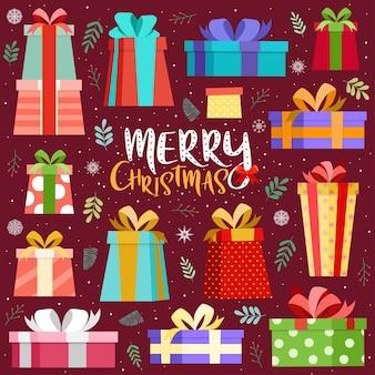 Vrolijke kerstkaart met kleurrijke geschenkdoos.