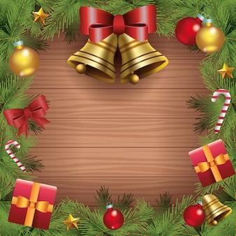 Vrolijke kerstkaart met klokken en geschenken in houten achtergrond vectorillustratie