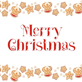 Vrolijke kerstkaart met peperkoekkoekjes. frame van koekjes. vectorillustratie voor nieuwjaar ontwerp.