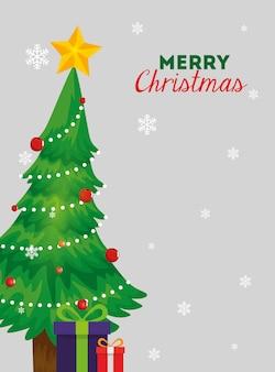 Vrolijke kerstkaart met pijnboom en geschenkdozen