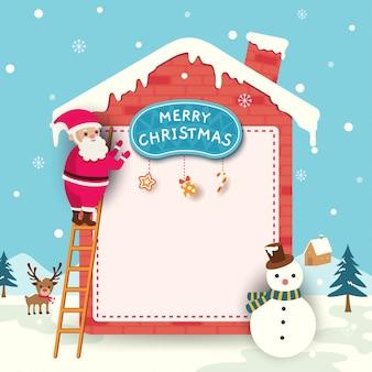 Vrolijke kerstkaart met santa claus ingericht huis op sneeuw.