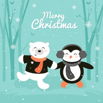 Vrolijke kerstkaart met schattige pinguïn en beer in het bos