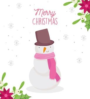 Vrolijke kerstkaart met sneeuwpop met hoed en sjaal bloemen decoratie