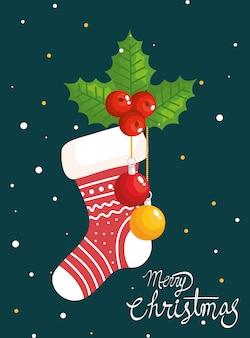 Vrolijke kerstkaart met sok en decoratie