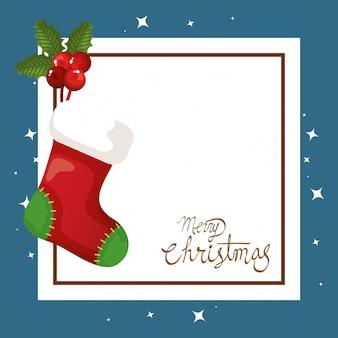 Vrolijke kerstkaart met sok opknoping en vierkante frame